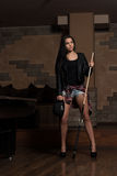 Female Pool Player Royalty Free Stock Photos