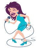 Female Pop Singer. Vector cartoon illustration of a female pop star singer with a big mouth belting out a tune at the top of her lungs stock illustration