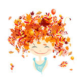 Female portrait with autumn hairstyle for your. Design. Vector illustration Royalty Free Stock Photo