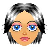 Female portrait avatar icon with girl face Stock Photos