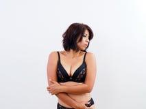 Female portrait in black bra Royalty Free Stock Images