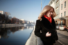 Female portrait in cold tones Royalty Free Stock Images