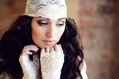 Female portrait of cute lady indoors Royalty Free Stock Images