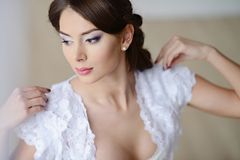 Female portrait of cute lady in white bra indoors Stock Photos