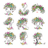 Female portrait with floral hairstyle, collection for your design Royalty Free Stock Image