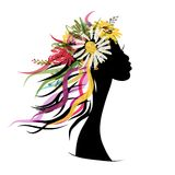 Female portrait with floral hairstyle for your Stock Images