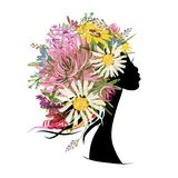 Female portrait with floral hairstyle for your Royalty Free Stock Image