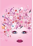 Beautiful woman face with hair made of flowers and butterfly stock illustration