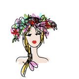 Female portrait with floral hairstyle for your Stock Image