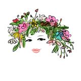 Female portrait with floral hairstyle for your Royalty Free Stock Images