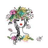 Female portrait with floral hairstyle for your Royalty Free Stock Photo