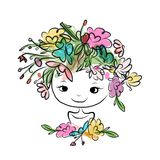 Female portrait with floral hairstyle for your Royalty Free Stock Photos