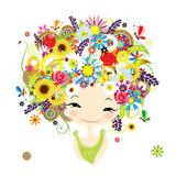 Female portrait with floral hairstyle for your. Design. Vector illustration vector illustration