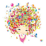 Female portrait with floral hairstyle for your Royalty Free Stock Photography