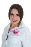 Female Portrait With Flower Stock Photo