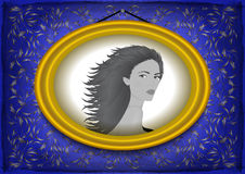 Female portrait in golden frame Royalty Free Stock Photo