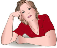 Female portrait hand drawn Royalty Free Stock Photo