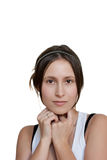 Female portrait with lot of copy space Royalty Free Stock Images