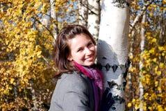 Female portrait near birch Stock Photo