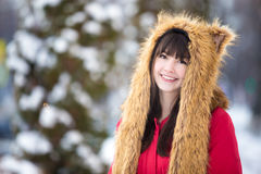Female portrait outdoors in wintertime royalty free stock photography