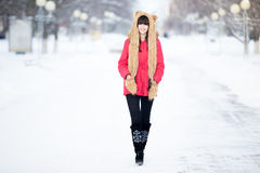 Female portrait outdoors in wintertime royalty free stock images