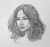 Female Portrait - Pencil Drawing Stock Images