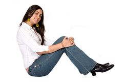 Female portrait - sitting on the floor Royalty Free Stock Photography