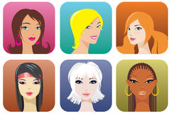 Female portraits. Portraits of women of different nationalities Stock Photography