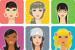 Female portraits. Portraits of women of different nationalities Stock Image
