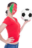 Female portuguese soccer fan Stock Photography