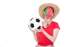 Female portuguese soccer fan. Female portuguese painted soccer fan  is looking happy,  on white Stock Photos