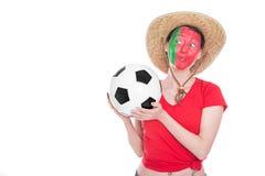 Female portuguese soccer fan Stock Photos