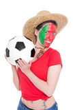 Female portuguese soccer fan Royalty Free Stock Images