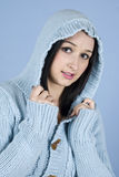 Female posing in blue wool hood Stock Photo