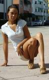 Female posing on the street Stock Photo