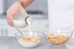 Female pouring milk in plate with oak flakes. Stock Photography