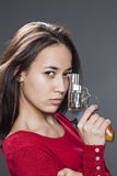 Female power concept for pretty multi-ethnic girl Stock Image