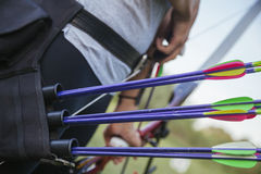Female Practicing Archery At The Range Royalty Free Stock Image