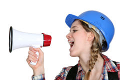 Female preaching with megaphone Royalty Free Stock Image