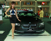 Female presenter of BMW Stock Photo