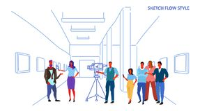 Female presenter interviewing with crew reporter taking interview with man mass media announcement concept art gallery. Museum interior horizontal sketch vector vector illustration
