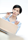 Female presenter at the podium Royalty Free Stock Images