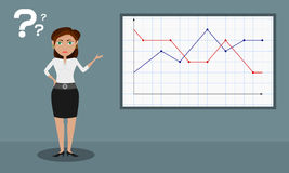 The female presenter shows a dotted graph Stock Photos