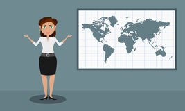 The female presenter shows the world map Royalty Free Stock Photos