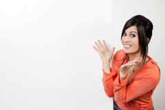 Female Presenter Stands Blank White Board Smiling Excited Woman Stock Photo