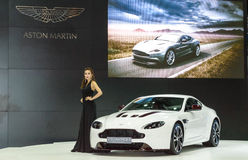 Female presenters model at ASTON MARTIN booth during. Royalty Free Stock Photo