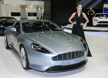 Female presenters model at ASTON MARTIN booth during. Stock Image