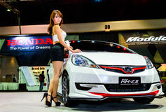 Female presenters model at the Honda booth during. BANGKOK - JUNE 20 : Female presenters model at the Honda booth during at Bangkok International Auto Salon Royalty Free Stock Image