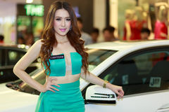 Female presenters model in Motor Show 2014. RAYONG THAILAND- FEBRUARY 17 :  Female presenters model at Laemtong Shopping Plaza Rayong in  Motor Show 2014 on Stock Image