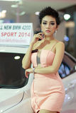 Female presenters model in Motor Show 2014. RAYONG THAILAND- FEBRUARY 17 :  Female presenters model at Laemtong Shopping Plaza Rayong in  Motor Show 2014 on Stock Photo